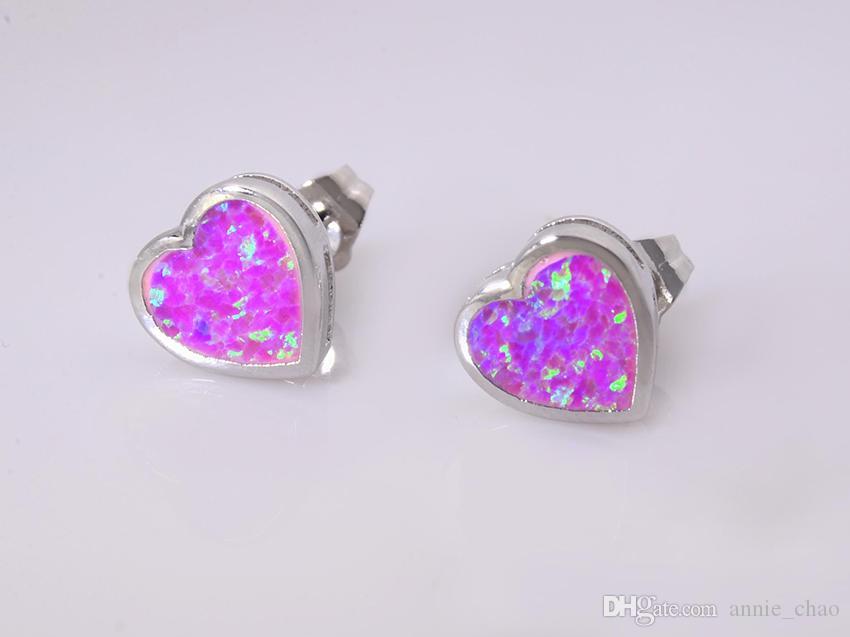 Großhandelskleinhandel-Art- und Weisefeiner rosa Feuer-Opal-Ohrringe 925 versilbern Schmucksachen für Frauen EJL1631015