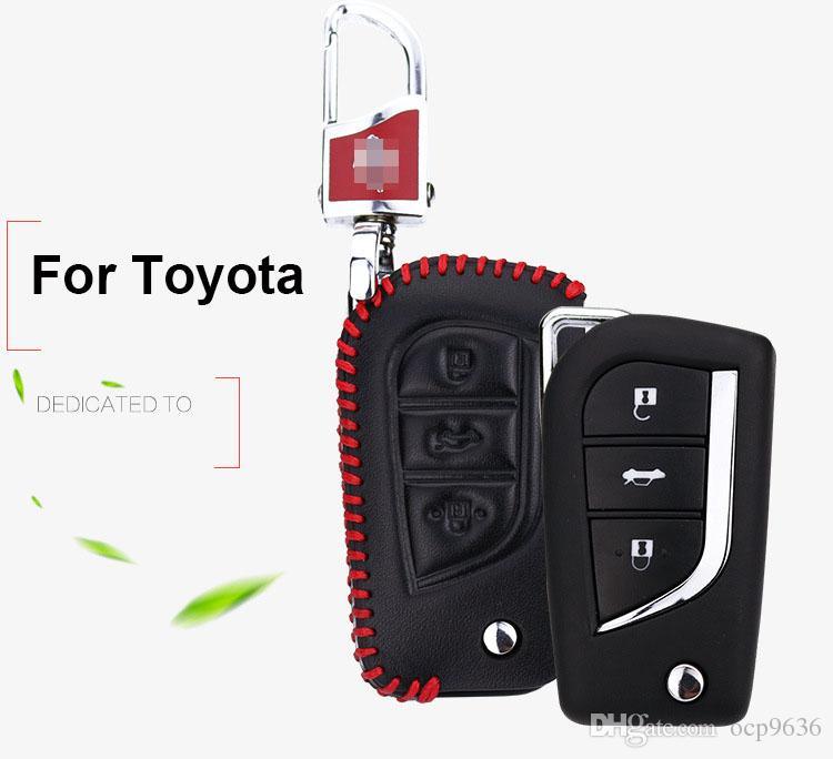 Premium Leder Fernschlüssel Halter Fob Fall Abdeckung Für Toyota Camry 2015-2016 Kostenloser Versand