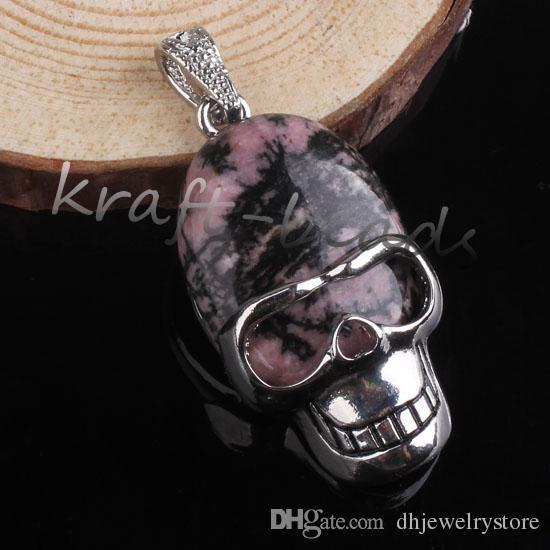 Comercio al por mayor 10 Unids Plateado Vintage Varios Druzy Cuarzo Piedra Cráneo Forma Colgante Punk Joyería Estilo Para Hombre Fresco