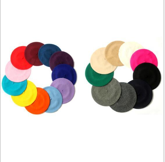 Pretty Girls 'Yün Bere Bere Şapka Birçok Renkler Kadın Moda Ressam Yün Açık Sonbahar Sıcak Fransız Bere Bayanlar Bereliler Kızlar Yün Caps