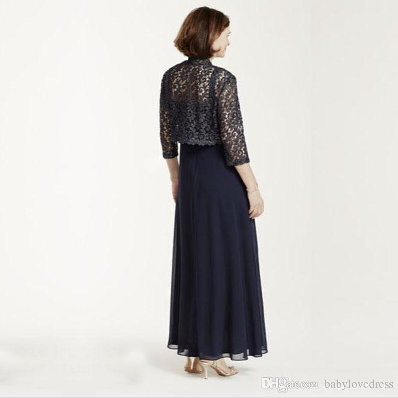 Vintage spaghetti straps 2018 mother of the bride dresses with lace jacket long chiffon wedding party gowns