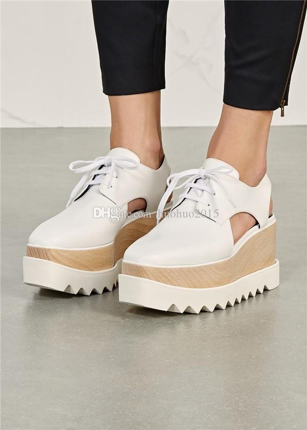 7db53e39b1a Hot Sale Elyse Cut Out Shoes Woman 2016 Platform Sneakers Lace Up Fashion  Wedges Stella Celebrity Summer Street Style Loafers Silver Heels Dress Shoes  From ...
