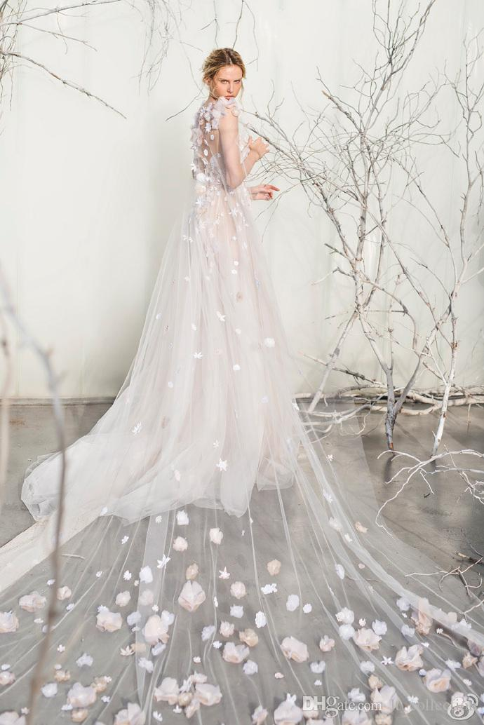 Discount mira zwillinger wedding dresses 3d floral applique discount mira zwillinger wedding dresses 3d floral applique wedding gowns tulle cape bridal dress customize illusion sheer neck flowers bridal gowns junglespirit Image collections