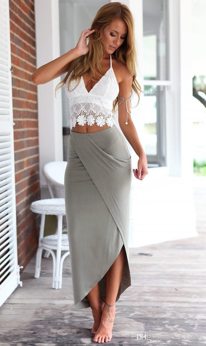 Heiße Frauen Kleidung Sommer Sexy Zwei Stücke Kleidung Set Frauen Halter Crop Top + Hohe Taille Lange Bleistiftrock Bodycon Strandkleid