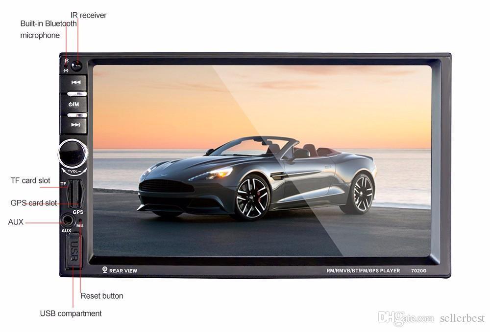 Neue Ankunft Auto DVD Player 7 Zoll 2 Din 7020G Autoradio MP5 Player 1080P Bluetooth mit GPS Navigation Touchscreen + Fernbedienung