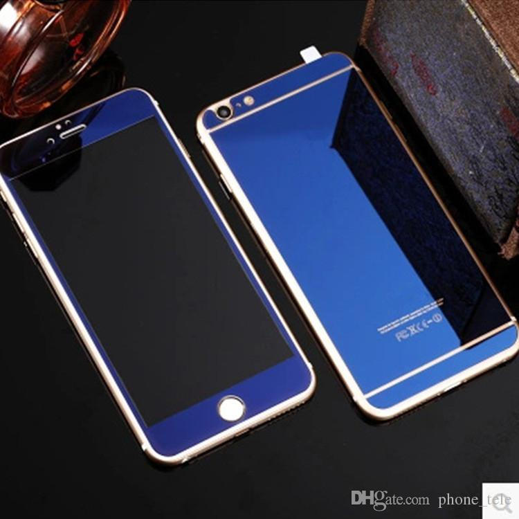 005fe1aecc1 Front + Back Mirror Screen Protector Tempered Glass Colorful Plating Full  Cover Glass Sticker Protective Film for iphone 6 7 plus 5s 5 4s 4