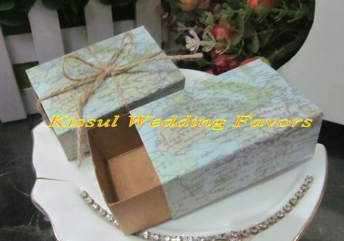 Wedding favor and Gift Map Favor Box for Bridal shower gift and decorative candy box Candy bag Party box