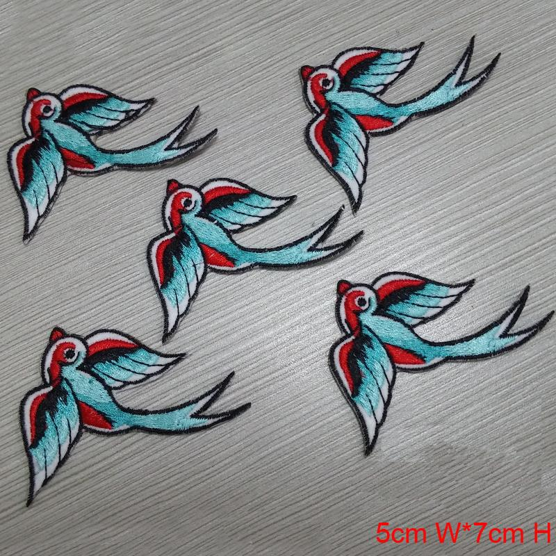 new arrival Wholesale cute swallow animal Embroidered Iron On Patch Applique Badge kids Children Cartoon Patch for shirt jeans shoes