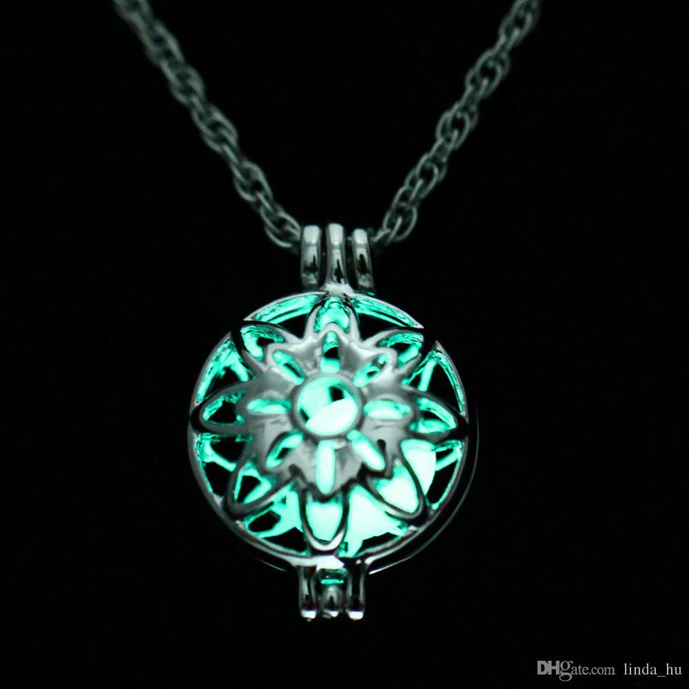 Vente de perles lumineuses creuses phase phase collier collier pendentif collier gypsy lumière de nuit printemps et accessoires d'été pour hommes et femmes