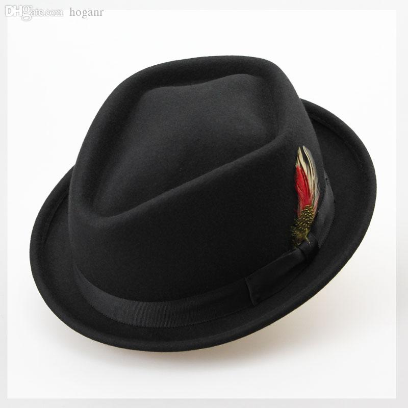 Wholesale-Vintage Australian Wool Felt Jazz Men Hat Male Floppy Feather Fedora Bowler Hat Fashion Flat Dome S M Large Size Woolen Hat