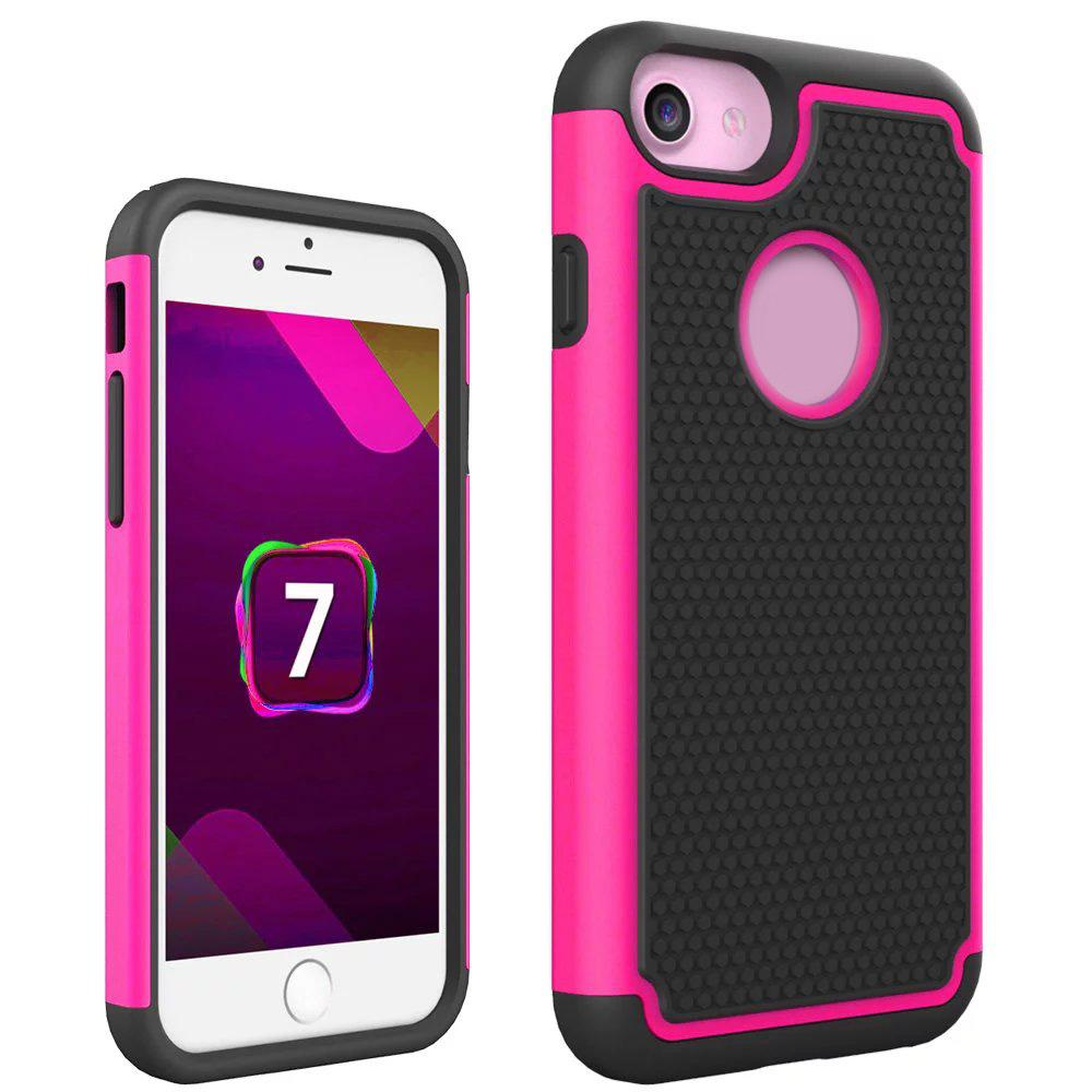 Square Hard Plastic PC+ Soft Silicone Gel Skin Football Hybrid Rugged Case Dot For Iphone 7 7G 7th 4.7 Iphone7 Plus 5.5