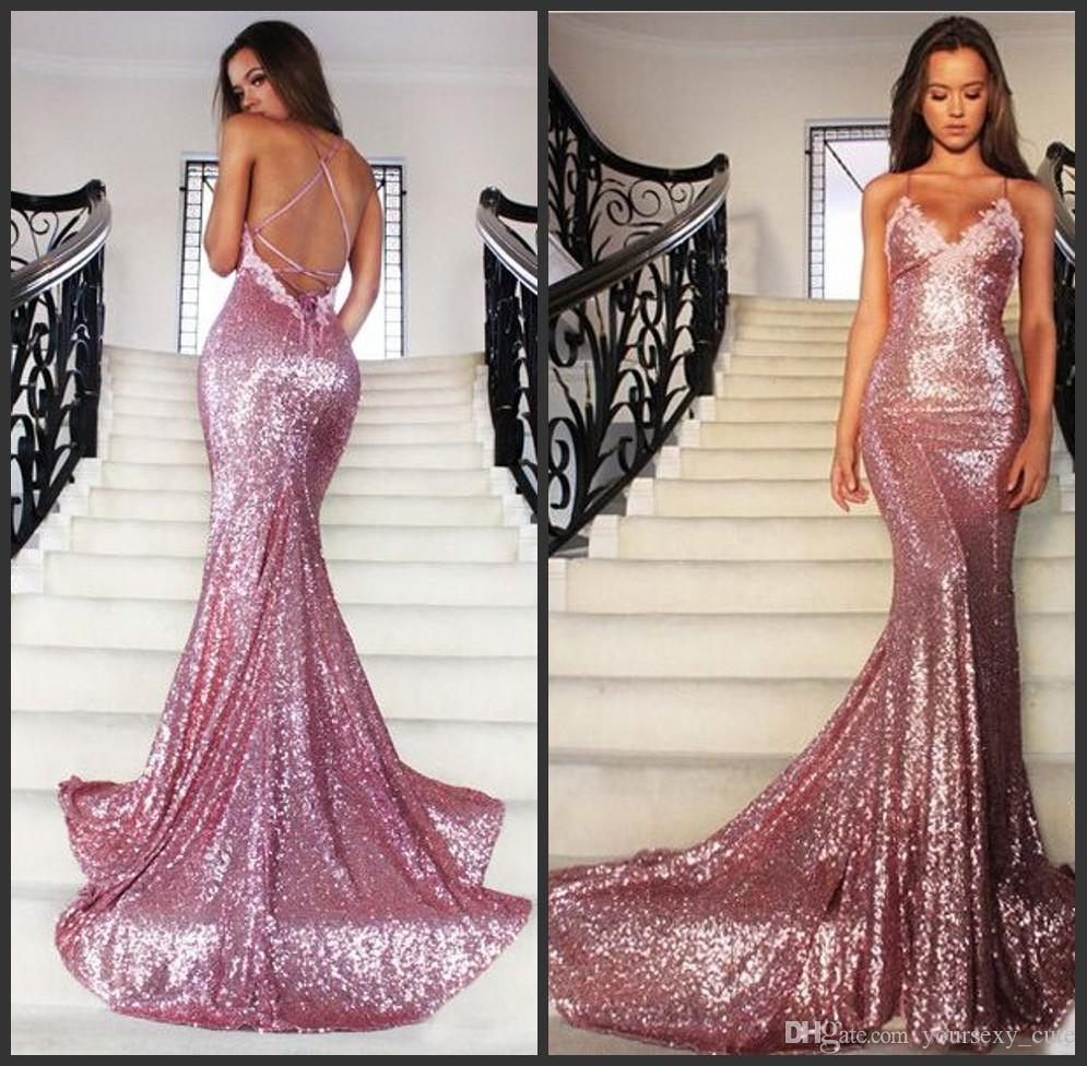 cb945f8046 Brilliant Sequin Mermaid Evening Dresses 2017 Spaghetti Strap V-Neck Sweep  Train Formal Prom Gowns Sexy Backless Applique Party Dresses