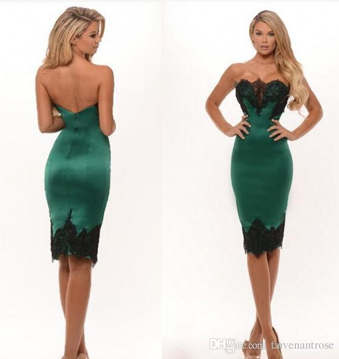 Sexy Green And Black Strapless Cocktail Dresses Knee Length Satin