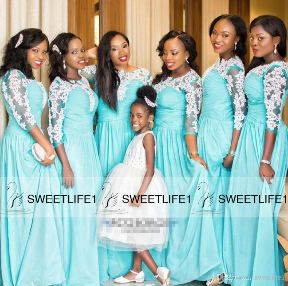 2016 a line long bridesmaid dresses for black girls pretty 2016 a line long bridesmaid dresses for black girls pretty appliques half sleeves draped vintage cheap maid of honor gowns long prom dresses sage green ombrellifo Images