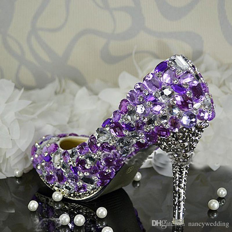 Robe de mariée en cristal pourpre belle diamant strass chaussures de mariée robe paillettes fête de danse chaussures de bal