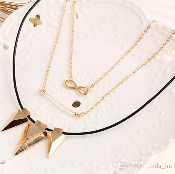 Europäische und amerikanische Mode Perlen Halskette wilden Temperament fiel 8 Wörter einfache mehrschichtige Metall Dreieck Bekleidungszubehör