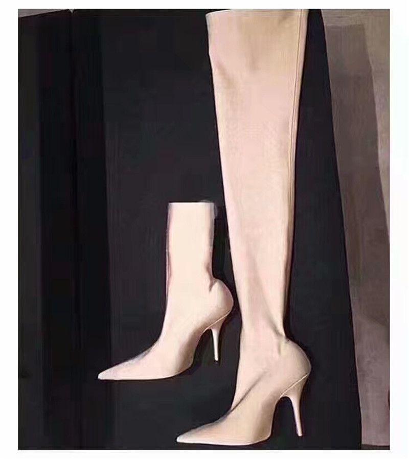 2017 Promi Mode Fetisch Schuhe Frau Spitze Zehen Sexy High Heels Overknee Booties Satin Stretch Oberschenkel Hohe Stiefel Frauen Runway Schuhe