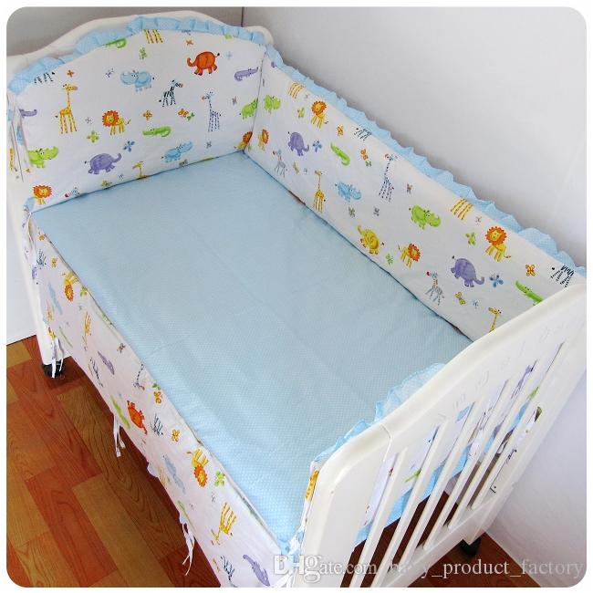 Promotion! Baby cot bedding kit bed around 100% cotton crib bumper set cot nursery bumpers+sheet+pillow cover