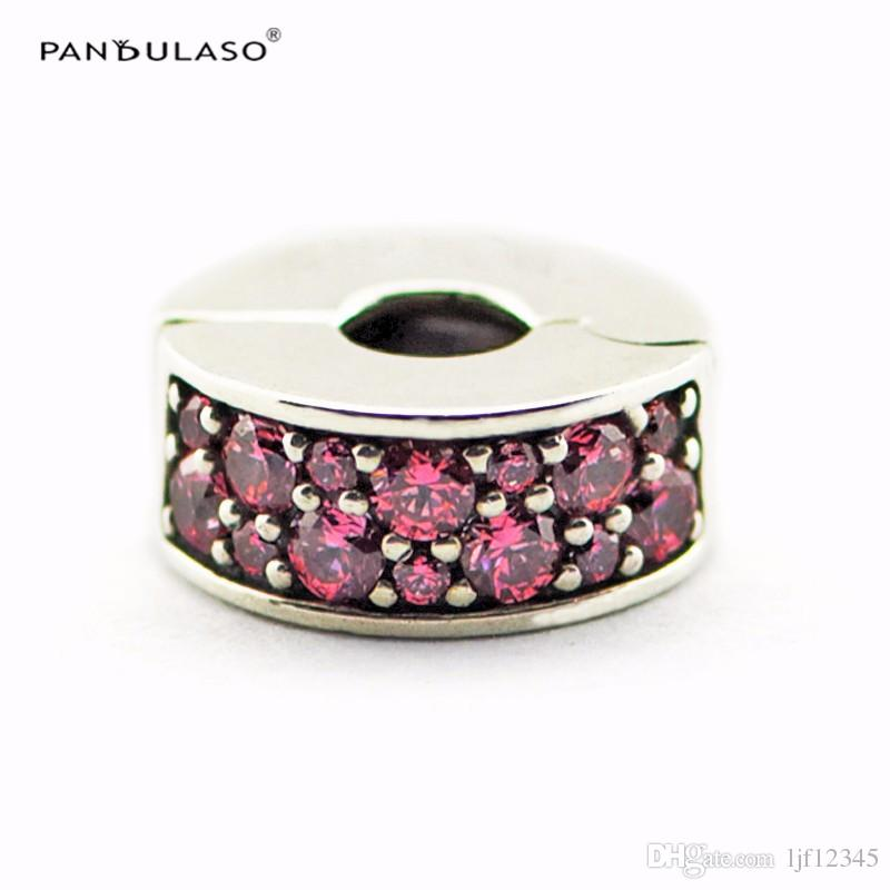 Honeysuckle Pink Shining Elegance Spacer Sterling-Silver-jewelry Beads Fits Pandora Bracelets DIY Woman Bracelets Beads Wholesale Beads