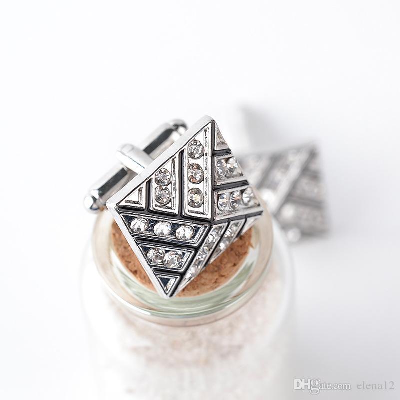 Moda cristal diamante raya Gemelos Gemelos botón de la manga para mujeres hombres camisas trajes de vestir Gemelos regalo de Navidad 170600