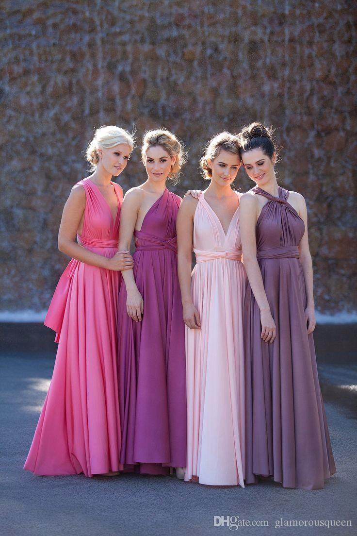 New Purple Bridesmaid Dresses Sleeveless A-line Floor Length V-Neck Chiffon blue Convertible Dresses bridesmaid dresses greek goddess dress