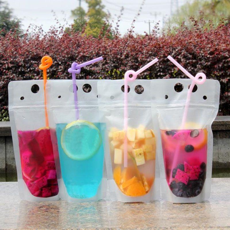 450 ml Transparente Auto-selado Saco De Bebida De Plástico DIY Saco de Bebida Recipiente De Suco De Frutas Saco De Armazenamento De Alimentos