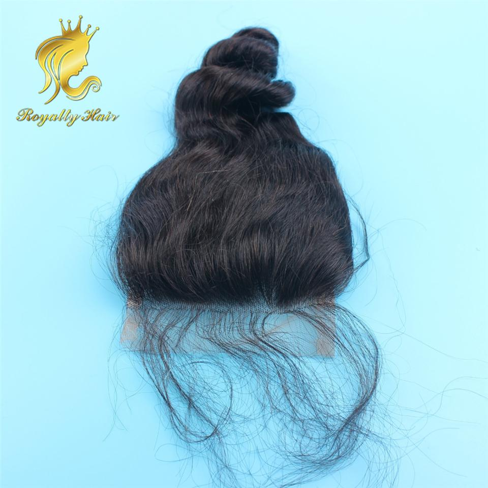 Full Density Three Middle Free Part Loose Wave Malaysian Human Hair Silk Top Closures Piece Lace Front Closure