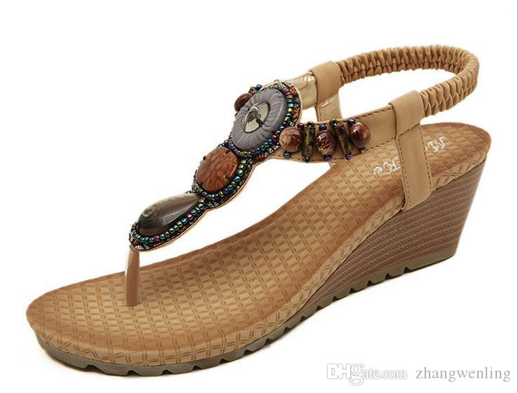 우리 크기 : 5-8.5 여성 샌들 패션 구슬 검투사 샌들 여성 여름 여성 신발 여자 6cm 하이힐 플랫폼 샌들