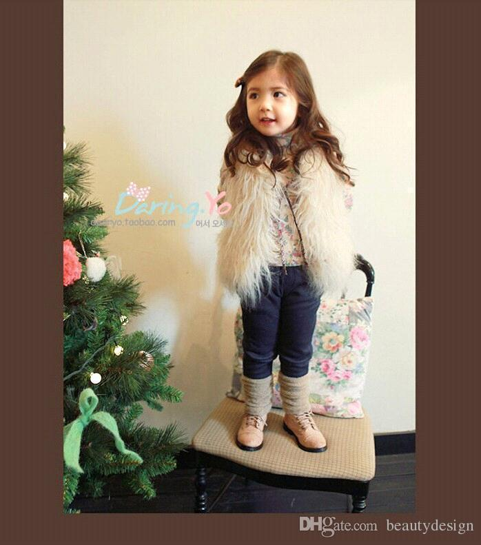 Cute Girls Waistcoat Fur Vest Warm Vests Sleeveless Coat Children Cheap Outwear Winter Coat Baby Clothes Kids Clothing Girl Waistcoat MC0307