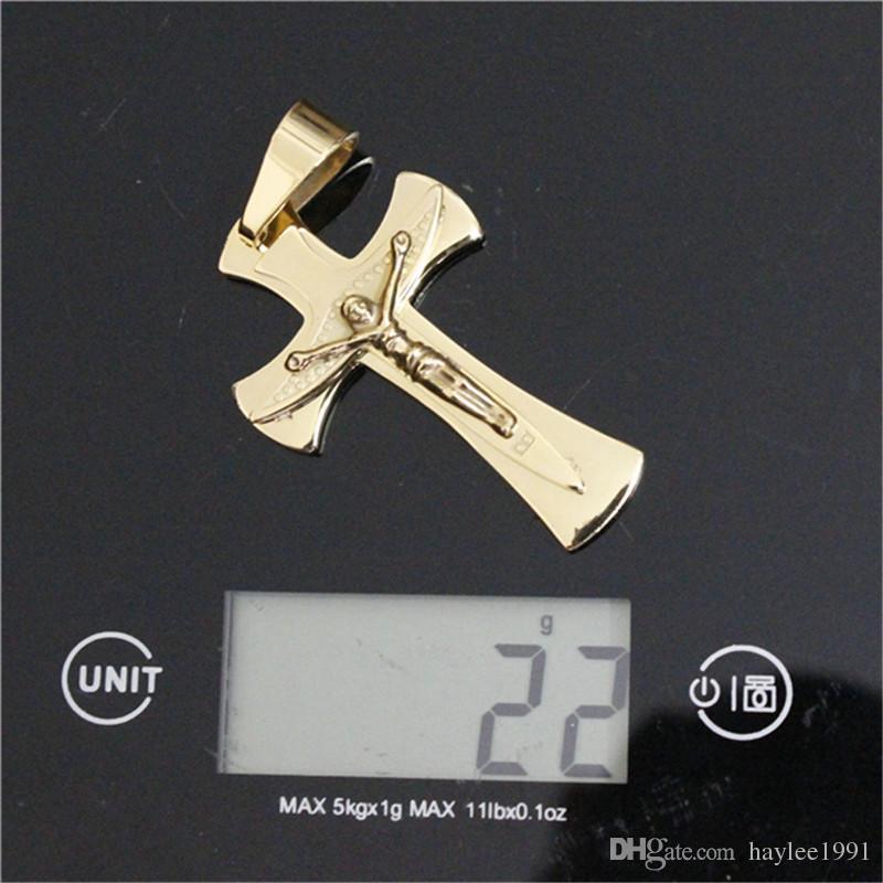 3 pçs / lote preço de atacado não-fade pingente de cruz de ouro de aço inoxidável moda jóias banda partido unisex qualidade superior jesus pingente de cruz