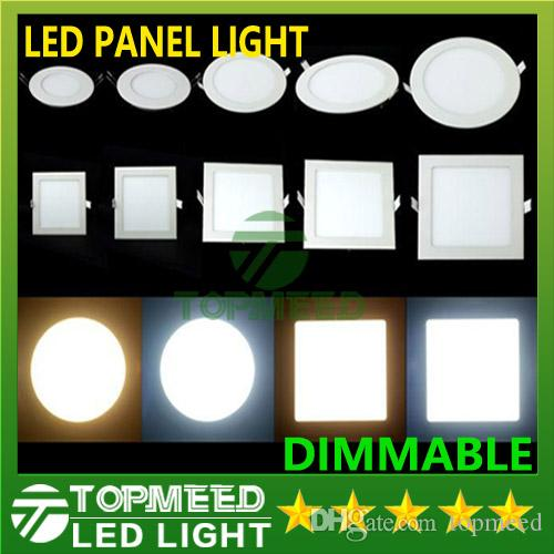 dimmable led panel light smd 3w 9w 12w 15w 18w 21w 25w 110240v led ceiling recessed down lamp smd2835 downlight driver led lights led panel lights