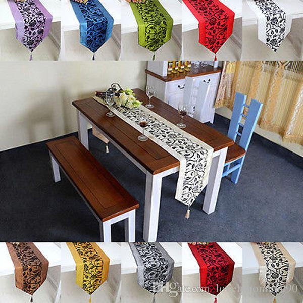 """79""""X13"""" Raised Flower Blossom Flocked Damask Table Runner Cloth Wedding Decor"""