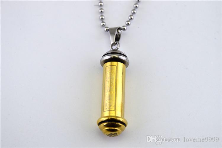 hochwertige 316L Edelstahl Die Nekromanten Amulet Tube Anhänger Feuerbestattung Asche Urne Anhänger Halskette Schmuck