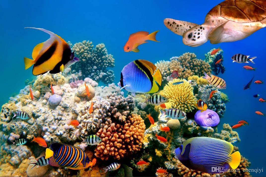Personalizado grande murais tecido papel de parede papel de parede 3d crianças rom coartoon TV sofá de volta 3D53 Subaquático azul mar mundo beleza golfinhos peixe nadar
