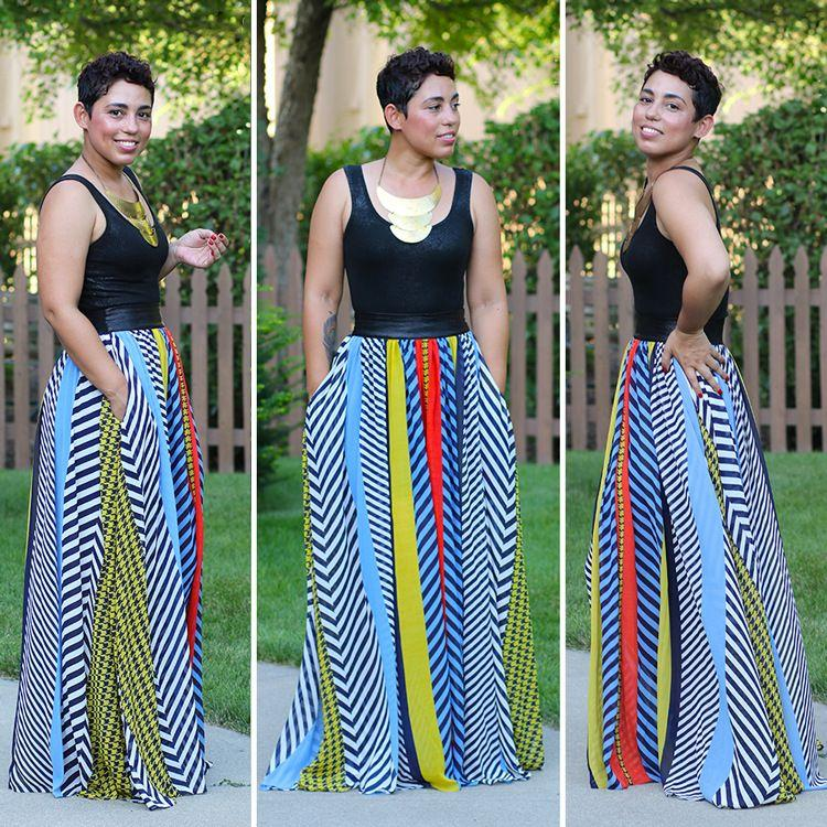 bf6dabccbc1a3 2019 Womens Long Skirts 2015 Summer Style Casual Striped Print Chiffon Maxi  Skirt High Waisted Adult Tutu Skirt Plus Size From Hlamen