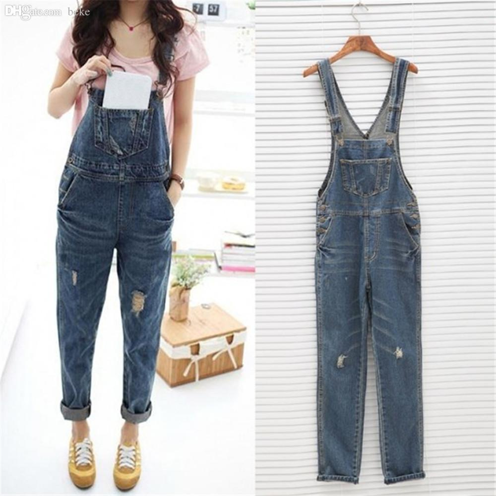 c07431b5d91 2019 Wholesale Womens Ladies Baggy Denim Jeans Full Length Pinafore Dungaree  Overall Jumpsuit From Beke