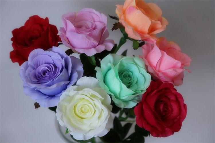 Caliente ! 100 piezas de flores artificiales 8 rosas de color cabeza de flor flores de decoración de bodas 7 cm ePacket gratis