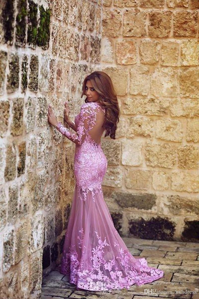 2019 New Mermaid Tulle Appliques Lace Plum Evening Dresses Sweep Train Long Sleeve Formal Party Sheer illusion Back Arabic Prom Gown 070