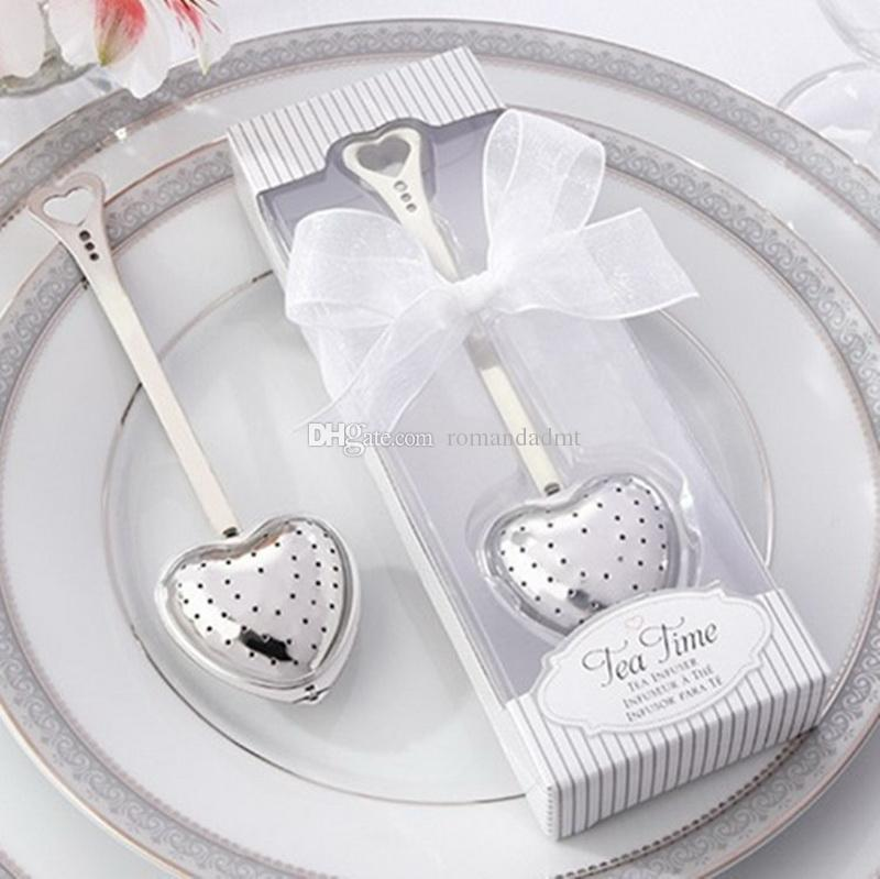 Wedding Favors Gift Heart-Shaped Teaspoon Stainless Steel Tea Spoon Love Tea Strainer Suit Gift Box packing+DHL Free Shipping