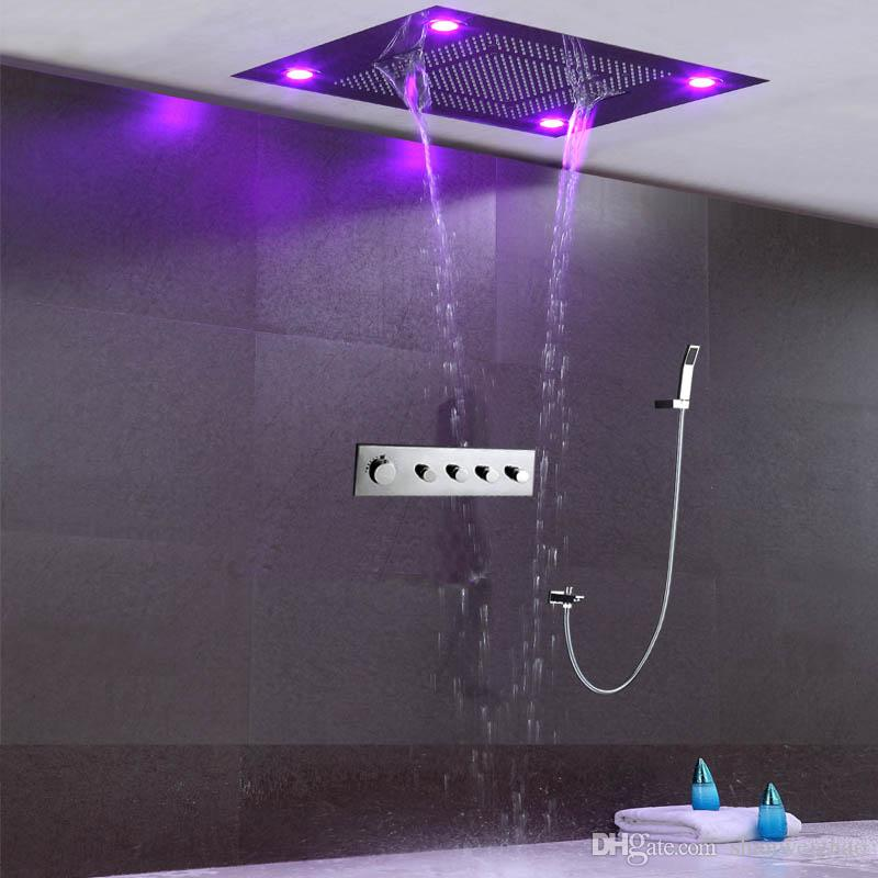 Thermostatic shower set bathroom remote control multifunction rainfall waterfall curtain LED light rain shower head set