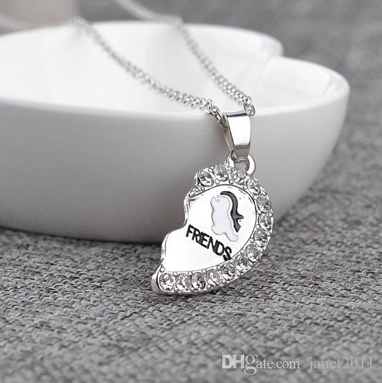 Best Friends Penguin Necklace Set Silver Plated Rhinestone Embellished Necklaces Gift Idea Unique Jewelry Chokers Necklaces