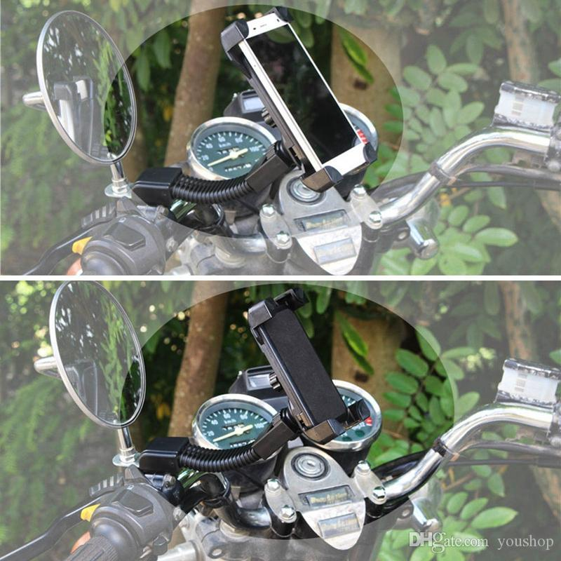 Universal Cell Phone Holder Rearview Mirror Mount Motorcycle Holder for iphone 7 Plus 6S 5S SE for Samsung Galaxy S7 S6 S5