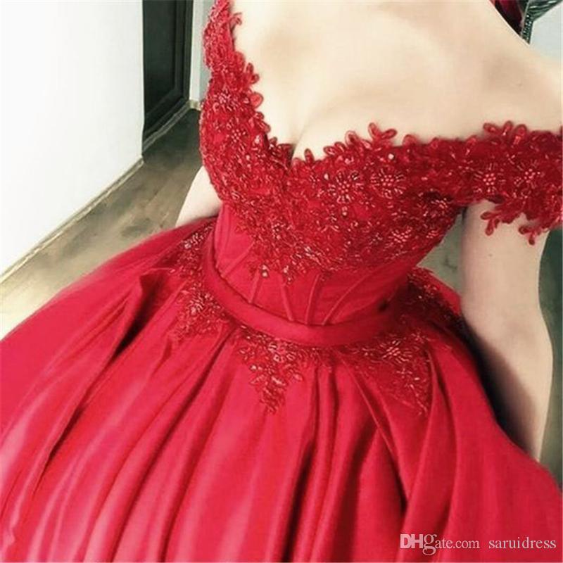 Weg von der Schulter Exposed Boning Rote Prinzessin Ballkleid-Abschlussball-Kleid-Kleid mit Spitze Appliques Abendkleid schwarze Mädchen prom Kleid