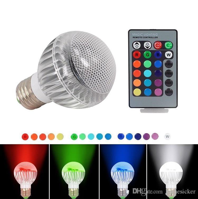 Nouveau module IC 16 Couleur Changement de couleur 9W Boule à billes RGB LED lumières Lampe E27 B22 avec télécommande
