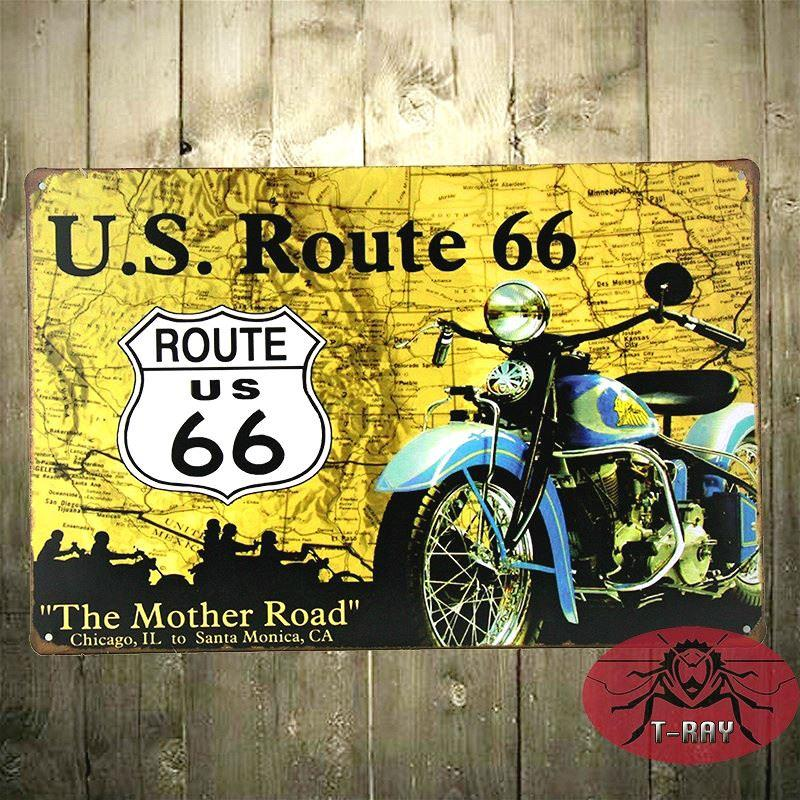 The Mother Road Route 66 Vintage Tin Signs Retro Painting Nostalgic ...