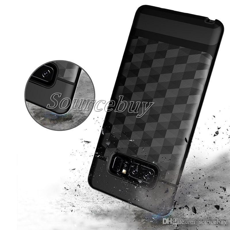 4d05e0a54f8 Compre Armor Case Para IPhone X 7 6s Plus Galaxy S8 Plus Nota 8 S7 Edge  Huawei P10 Desenho De Textura Rhombic Couro Traseiro Escovado De Sourcebuy,  ...