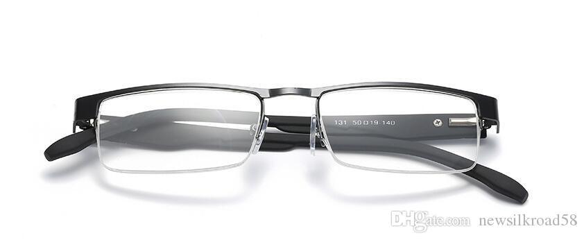 Металлические полукадровые очки для чтения Ультралегкие очки для пресбиопии 1,0–4,0 ПК Храмы Усталость Гафас +1,0 +1,5 +2,0 +2,5 +3,0 +3,5 +4,0