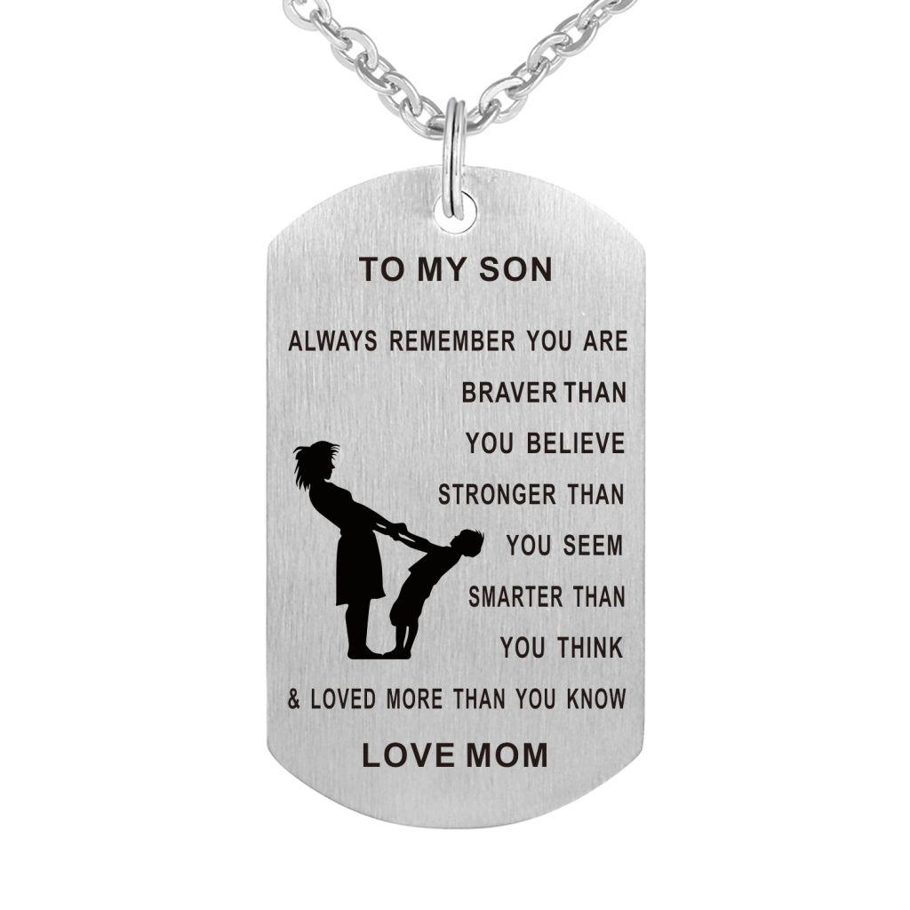 55 cm Baba Oğul Oğlu Köpek Etiketi Kolye Paslanmaz Çelik Askeri Mens Takı Kişiselleştirilmiş Özel Dogtags Kolye Aşk Hediye