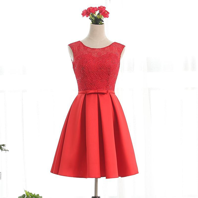 Bateau cuello encaje satinado cóctel vestidos con arco 2016 hasta la rodilla vestido de partido encaje color rojo