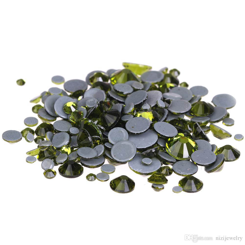 d35cc18c4567 Olive Hotfix Crystal Rhinestones Ss6-ss30 And Mixed Glue Backing Iron On  Glass Stones Applique For Garments Phone DIY Decoration Rhinestones Nails  Art Charm ...